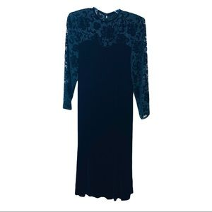 A.J. Bari Vintage Velvet Silk Dress Floral Lace